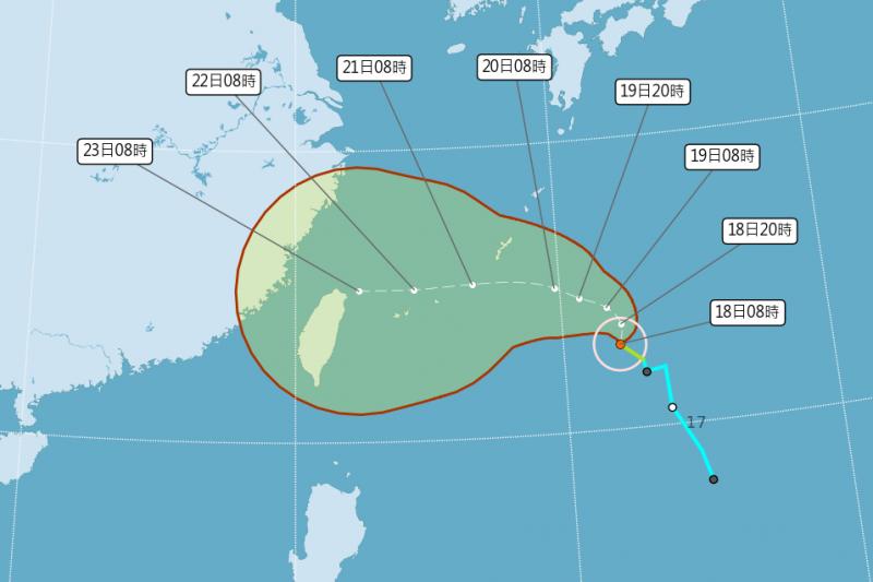 中颱「烟花」動態持續變化,氣象局預計21日晚間8時30分發布第6號颱風海上颱風警報。(取自中央氣象局網站)