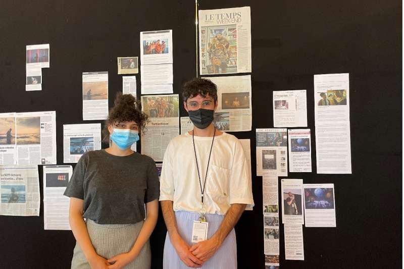 影展公關團隊,發言人Bastien Bento(左),影展公關聯繫Jennifer Siegrist(右),非常年輕的團隊。(方常均攝)