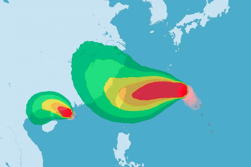 氣象局預估暴風圈侵襲機率圖。(取自中央氣象局)