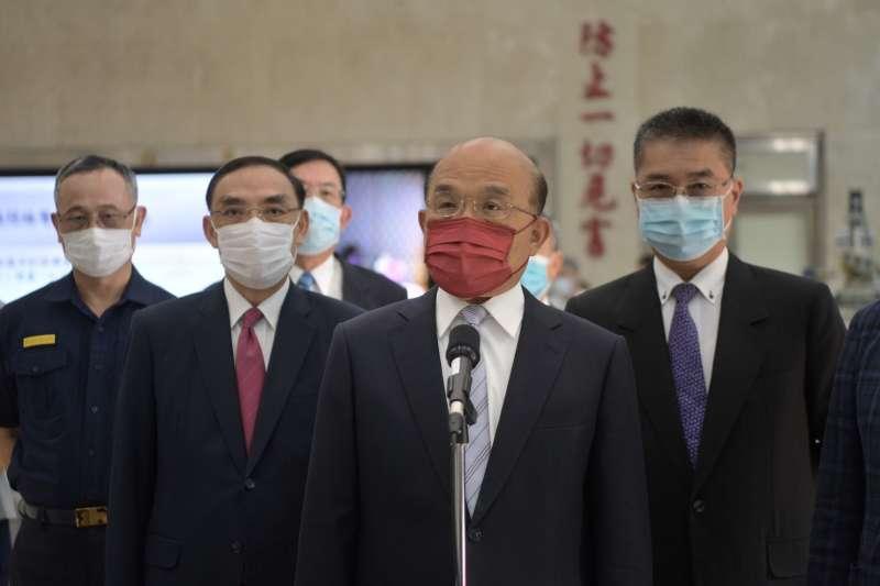 行政院長蘇貞昌21日出席內政部警政署刑事警察局掃黑緝毒記者會。(行政院提供)