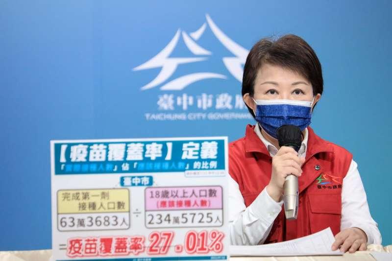 台中市長盧秀燕說明,如果颱風影響到疫苗配送作業,24日快打站將視實際狀況做調整。(圖/台中市政府提供)