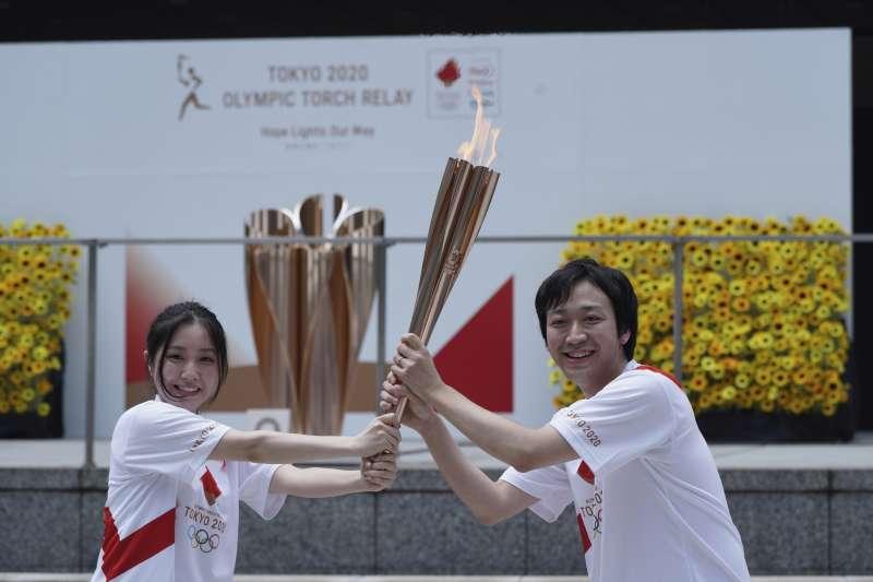 2021年7月23日,東京奧運聖火抵達儀式在東京舉行(AP)