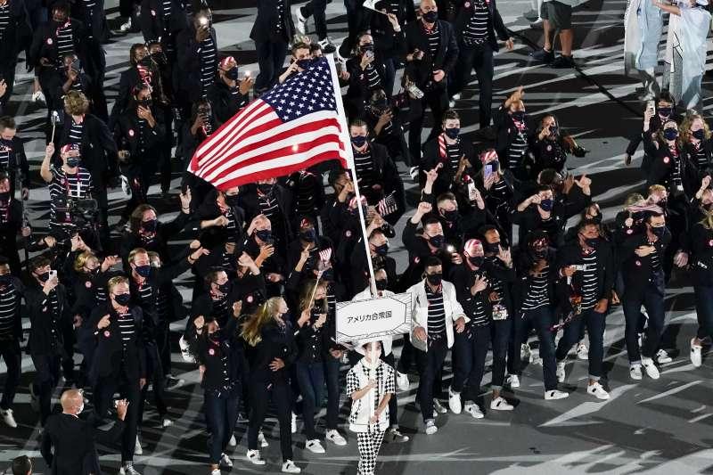 2021年7月23日,東京奧運(東奧)開幕式,各國運動員進場,美國(AP)