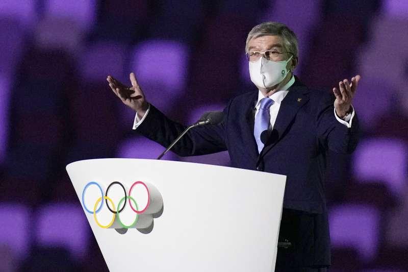 2021年7月23日,東京奧運(東奧)開幕式,國際奧會主席巴赫(Thomas Bach)(AP)