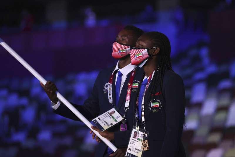2021年7月23日,東京奧運(東奧)開幕式,各國運動員進場(AP)