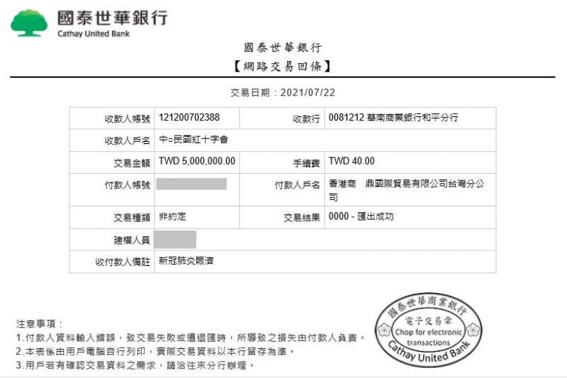 20210723-北京兩岸東方文化研究中心顧問、台商林瑞陽與張庭,捐贈500萬台幣給中華民國紅十字會,用於新冠肺炎賑濟。(孫文學校提供)