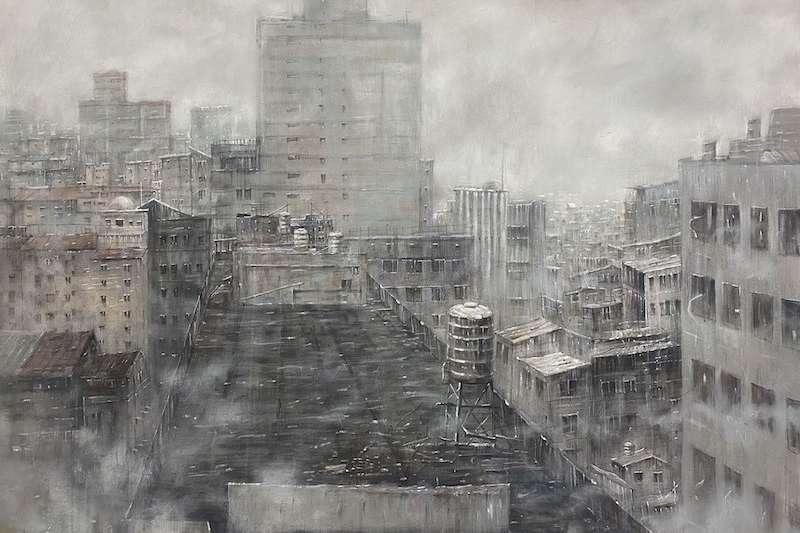 大墩美展水彩類第一名作品鍾子逸-迷霧之間。(圖/台中市政府提供)