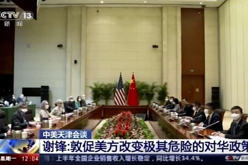 2021年7月26日,美國副國務卿雪蔓在中國天津與中國外交部長王毅及副部長謝鋒會面(AP)