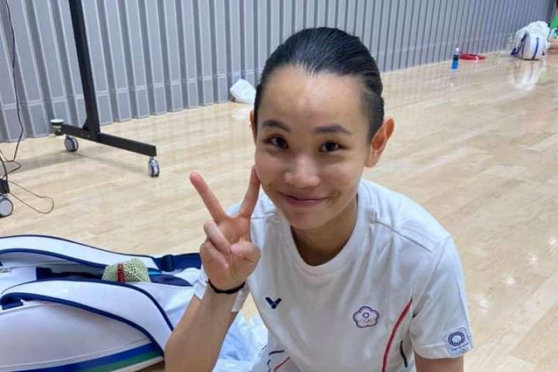 羽球球后戴資穎26日於東京奧運小組賽第2戰中,成功直落二打敗越南選手阮翠玲取得小組賽2連勝。(取自戴資穎臉書)