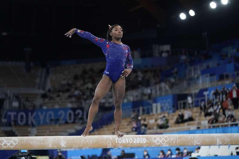 2021日本東京奧運:美國女子體操選手拜爾斯(AP)