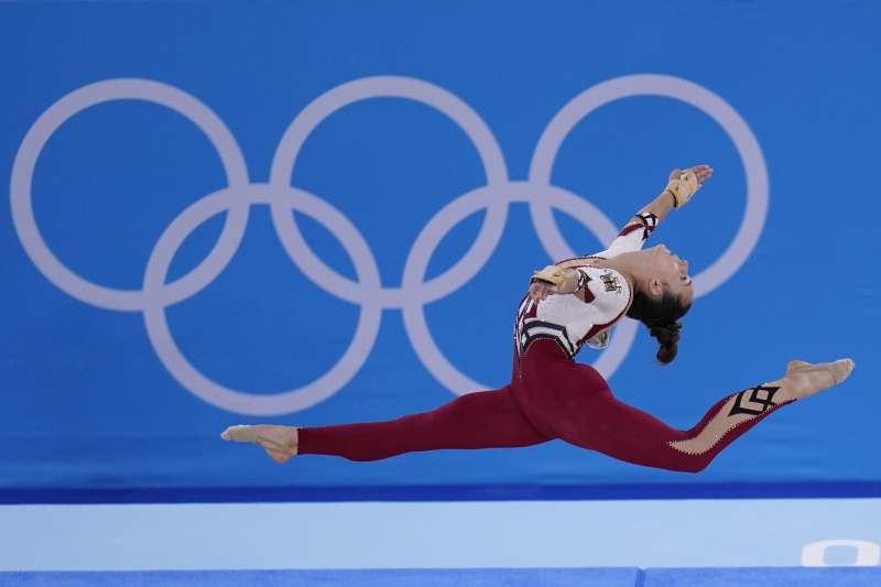 2021日本東京奧運:德國女子體操選手穿著非開叉設計的緊身衣(AP)
