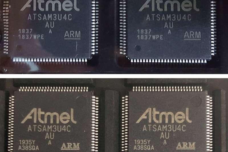 上圖為真品晶片;下圖為假貨晶片。(圖片來源:Botfactory)