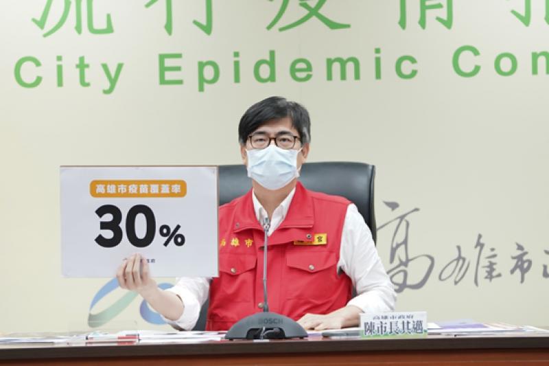 高雄市長陳其邁表示,高雄市疫苗接種率達30%,後續重要的工作,是把疫苗快速打到每位市民身上,讓大家有抵抗力、保護力。(圖/高雄市政府提供)