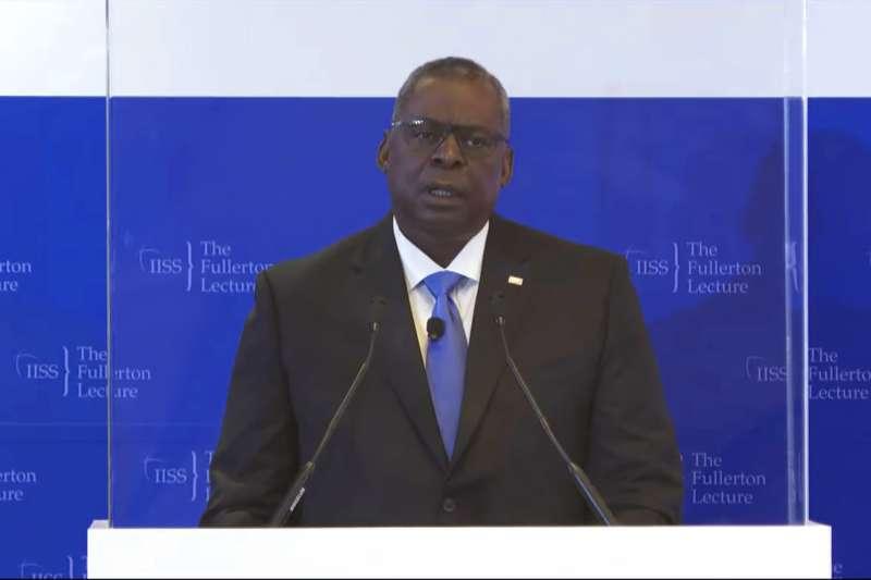 美國國防部長奧斯丁27日晚間出席新加坡智庫「國際戰略研究所」論壇,就印太局勢發表演說。(AP)