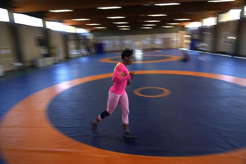 2020年東京奧運,非洲國家幾內亞的女子角力選手卡瑪拉(Fatoumata Yarie Camara)(AP)