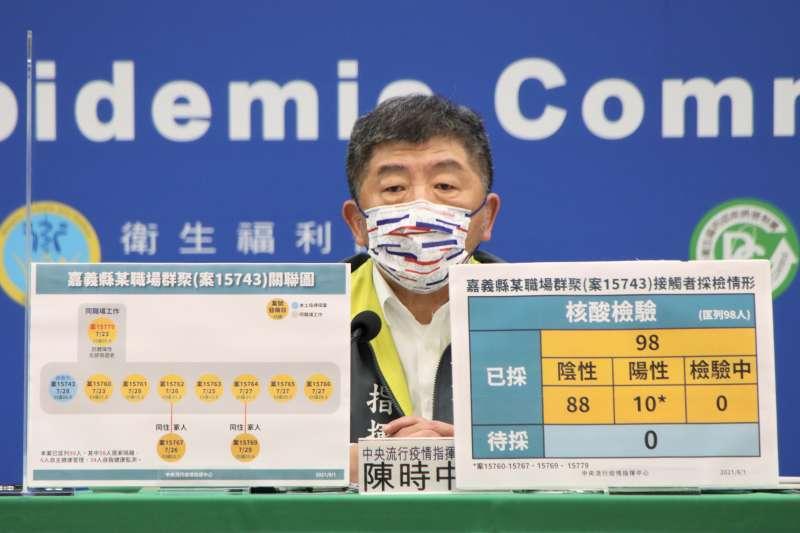 中央流行疫情指揮中心指揮官陳時中宣布,國內1日新增14例新冠肺炎確診個案。(中央流行疫情指揮中心提供)