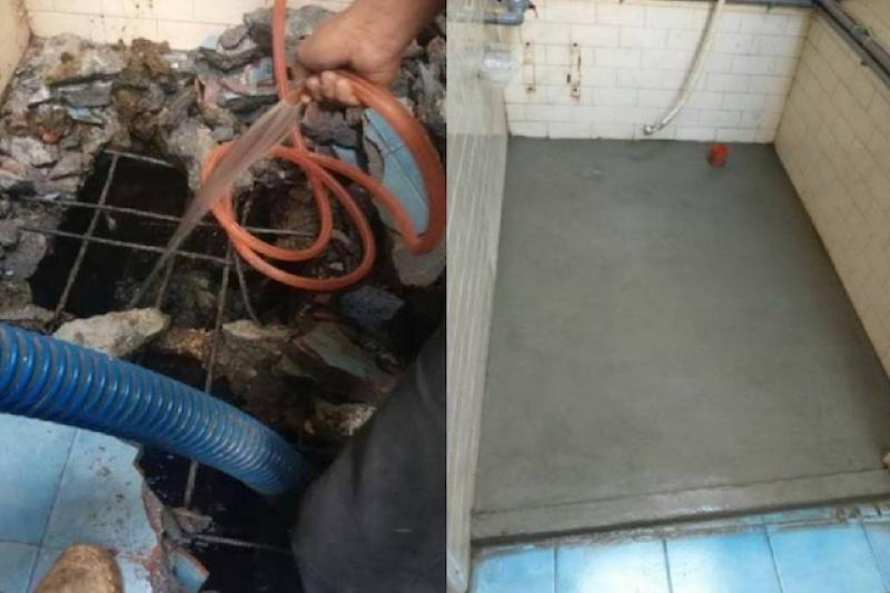 高市工務局推動免費廢除化糞池化專案,圖為糞池廢除施工中(左)與化糞池廢除完工後(右)對比。(圖/高雄市工務局提供)