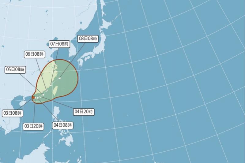 颱風盧碧最快今天生成,5日至7日影響台灣最大。(圖/與自中央氣象局)