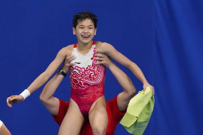 2021080-中國14歲女孩全紅嬋5日奪下東京奧運女子跳水10公尺跳台項目金牌。(美聯社)