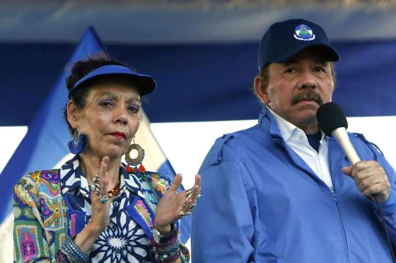 尼加拉瓜總統奧德嘉與太太穆麗優搭檔參選正副總統(AP)