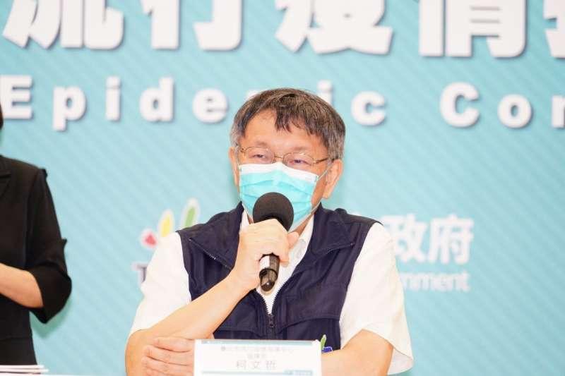 台北市長柯文哲表示,台北市目前沒有出現確診,原則上不要太過度升高防疫等級,原則上呼籲盡量外帶、減少內用,梅花座隔板還是要做好,並減少聚會。(資料照,台北市政府提供)