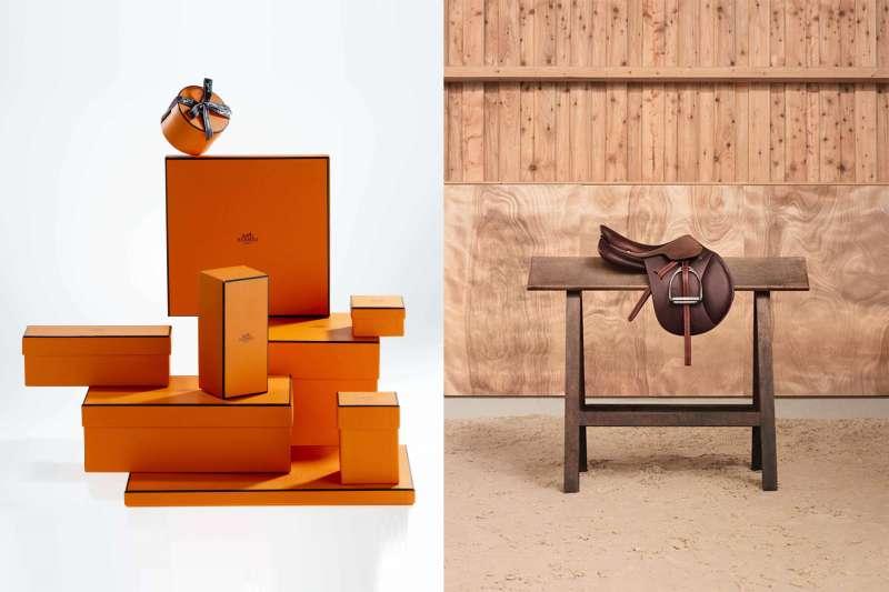 愛馬仕經典的橘盒包裝及馬具產品(圖 / 愛馬仕)