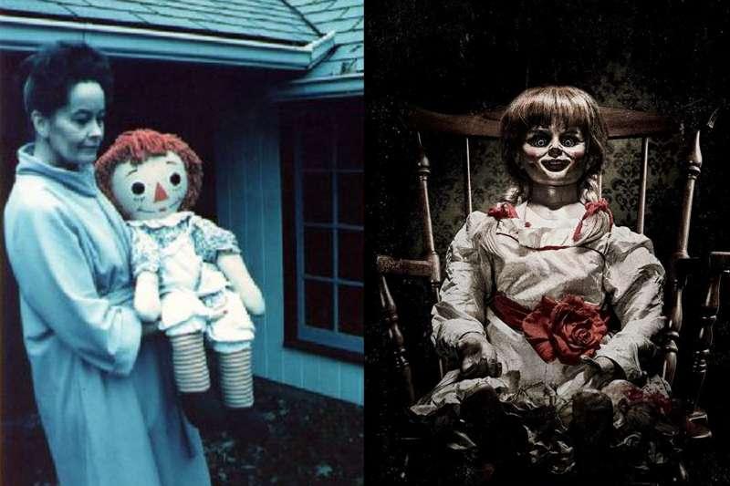 安娜貝爾娃娃的恐怖形象透過影視作品深植人心,它背後的靈異故事也令人毛骨悚然。(合成圖/取自YouTube、IMDb)