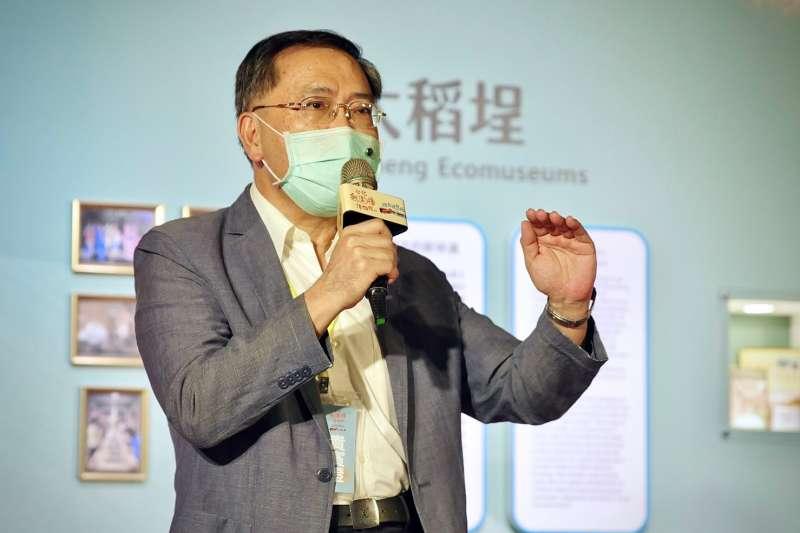 台北市副市長蔡炳坤31日上午出席台北探索館「無圍牆博物館特展-波力玩台北」記者會。(北市府提供)