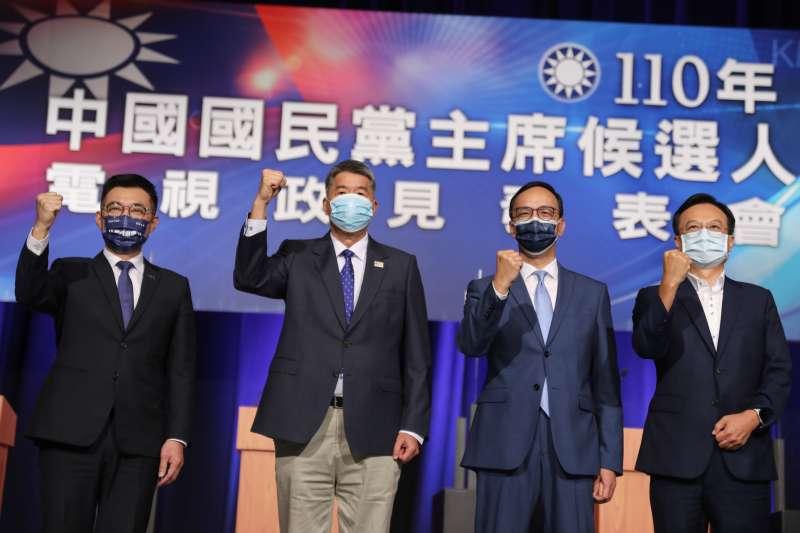 20210904-國民黨主席選舉候選人江啟臣(左起)、張亞中、朱立倫、卓伯源4日出席電視政見發表會。(顏麟宇攝)