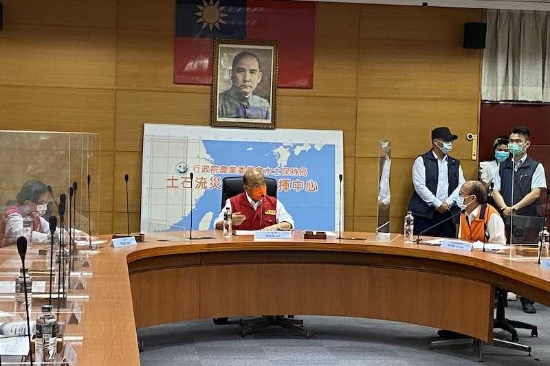 行政院蘇貞昌院長到水土保持局視察颱風防災整備情形。(圖/水土保持局提供)