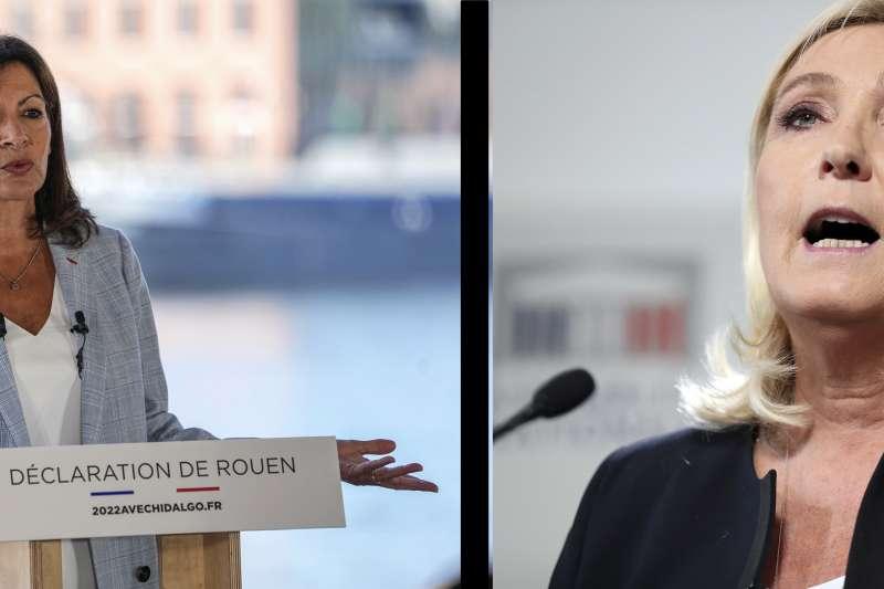 法國巴黎市長伊妲戈(左)與極右翼政黨「民族陣線」領導人勒潘(右)12日皆宣布參選(美聯社)