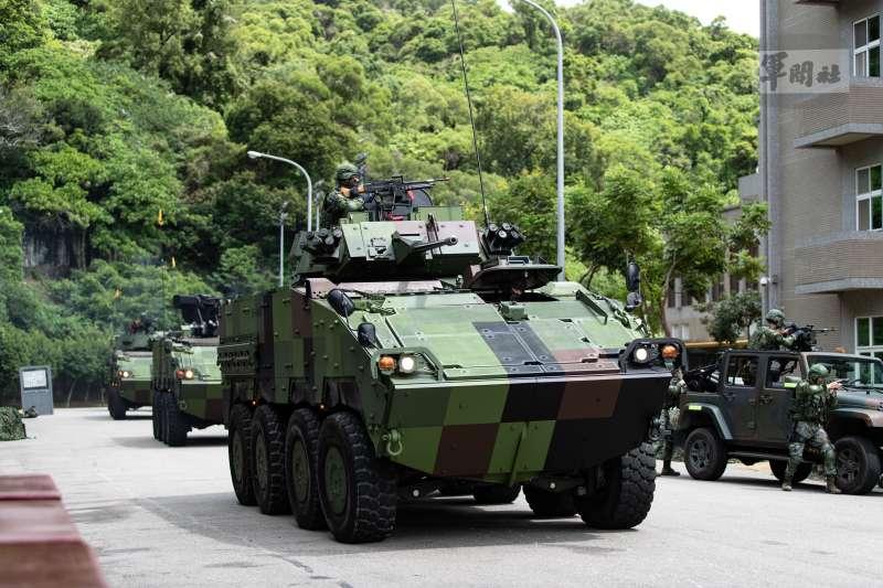 20210914-CM34 30機砲戰鬥車模擬掃蕩突入之敵,成功奪回重要設施,及時完成搶修作業。(軍聞社提供)