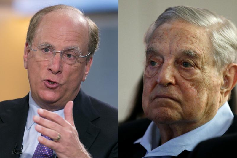 左:貝萊德(BlackRock Inc., BLK)執行長芬克(Larry Fink)/右:國際金融大鱷索羅斯(George Soros)/照片來源:AP