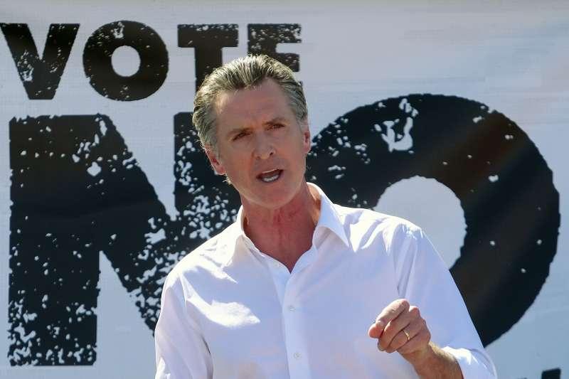 2021年9月,面臨罷免投票的美國加州州長紐森(Gavin Newsom)(AP)
