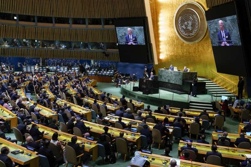 9月21日第76屆聯合國大會一般性辯論,美國總統拜登發言。(AP)