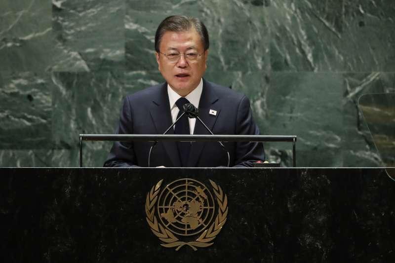 2021年9月21日,南韓總統文在寅在聯合國大會發表演說。(美聯社)