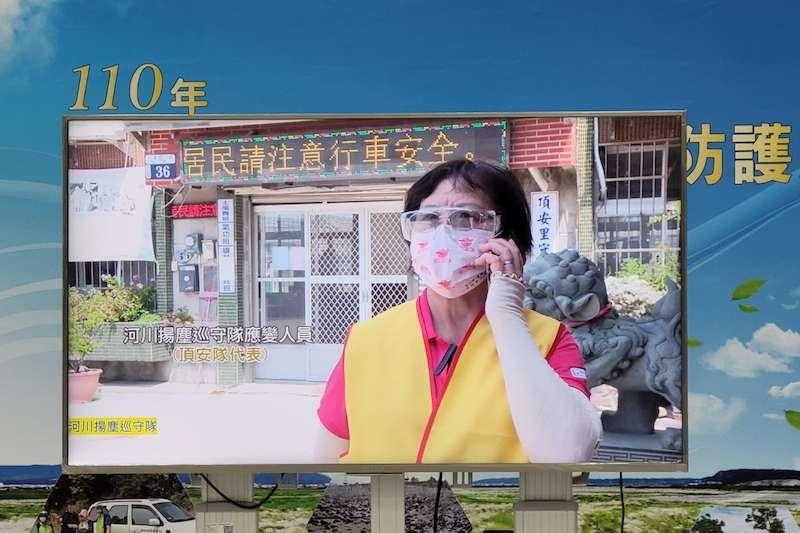 台中市政府舉行「河川揚塵防護演練」,河川揚塵巡守隊回報狀況。(圖/台中市政府提供)