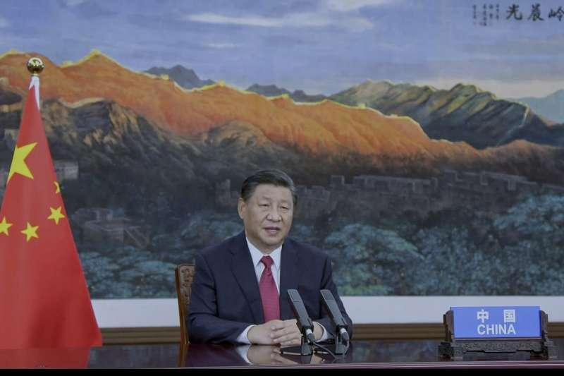 2021年9月,中國領導人習近平以視訊方式在聯合國大會發表談話(AP)
