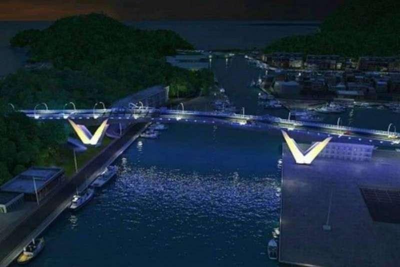「鯖魚尾」造型的南方澳跨港大橋橋墩。(蘇花改工程處提供模擬圖)