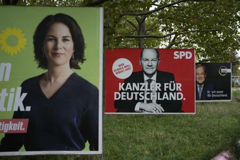 2021年9月26日,德國聯邦議會選舉,綠黨與社民黨總理候選人(AP)