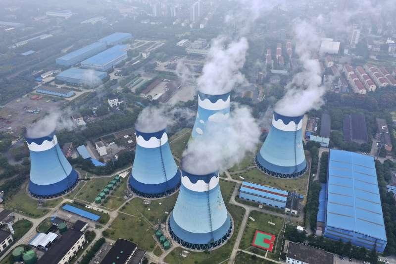中國電力、中國燃煤發電廠。 (AP)