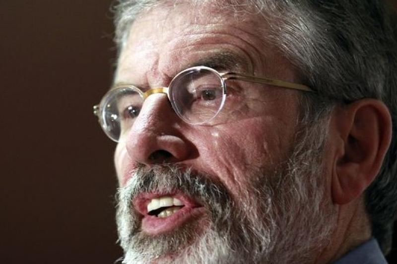 現任北愛新芬黨主席亞當斯因涉及42年前的擄人案件,上月30日遭到逮捕。(美聯社)
