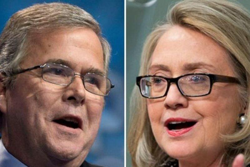 傑布布希(左)與希拉蕊(右)是美國2016年總統大選中打對台的熱門人選。(美聯社)