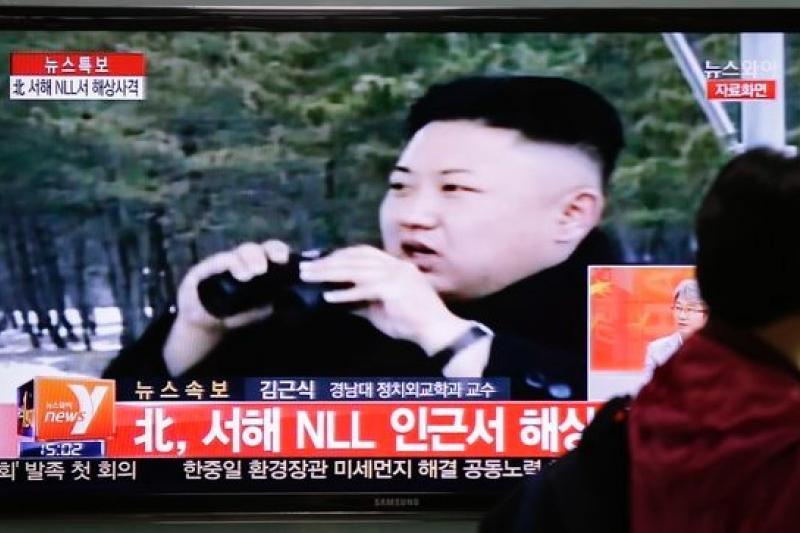 南韓電視播放北韓領導人金正恩視察的畫面。(美聯社)