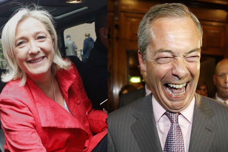 法國極右派總統候選人勒潘(左)接受法拉吉訪問,大談對英國脫歐的看法及佩服。(美聯社)