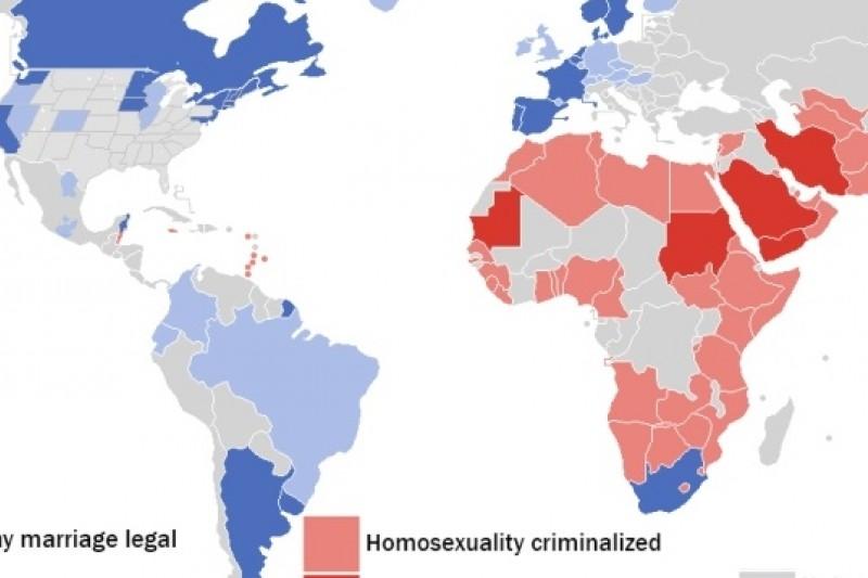 目前全球共有15個國家通過同性婚姻合法,但亦有83國將同性間的性行為關係視為非法。 (圖片來源:取自網路)