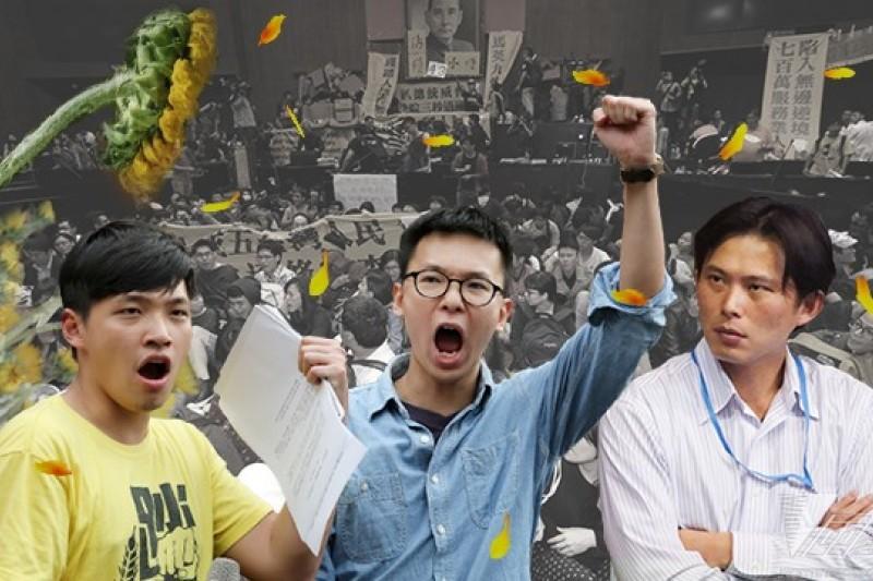 陳為廷(左起)與林飛帆加入黃國昌籌組的「島國前進」,與原本太陽花學運的學生成員各自努力,但仍維持合作默契。(余志偉攝/影像合成:風傳媒)
