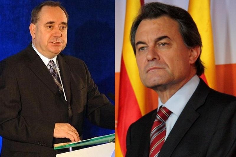 蘇格蘭領導人薩蒙德(左)與加泰隆尼亞領導人馬斯不約而同,都在2014年推動獨立公投。(維基百科)