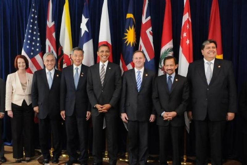 服貿不通過,台灣會被認為缺乏推動貿易自由化誠意,也難加入TPP。圖為TPP會員國元首集會。(取自維基百科)