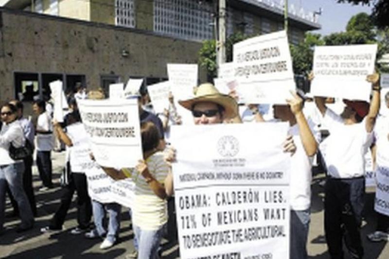 墨西哥加入北美貿易自由協定,同樣引起國內農民的抗議(取自網路)